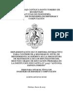 """IMPLEMENTACIÓN DE UN SISTEMA INTERACTIVO PARA CONTRIBUIR A MEJORAR EL NIVEL DE RENDIMIENTO ACADÉMICO EN LA ASIGNATURA DE MATEMÁTICA DE LOS ESTUDIANTES DEL SEGUNDO GRADO DE EDUCACIÓN PRIMARIA EN LA INSTITUCIÓN EDUCATIVA N° 11037 """"ANTONIA ZAPATA JORDÁN"""