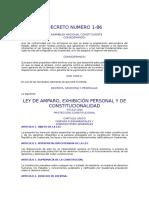 Ley de Amparo, Exhibición Personal y Constitucionalidad