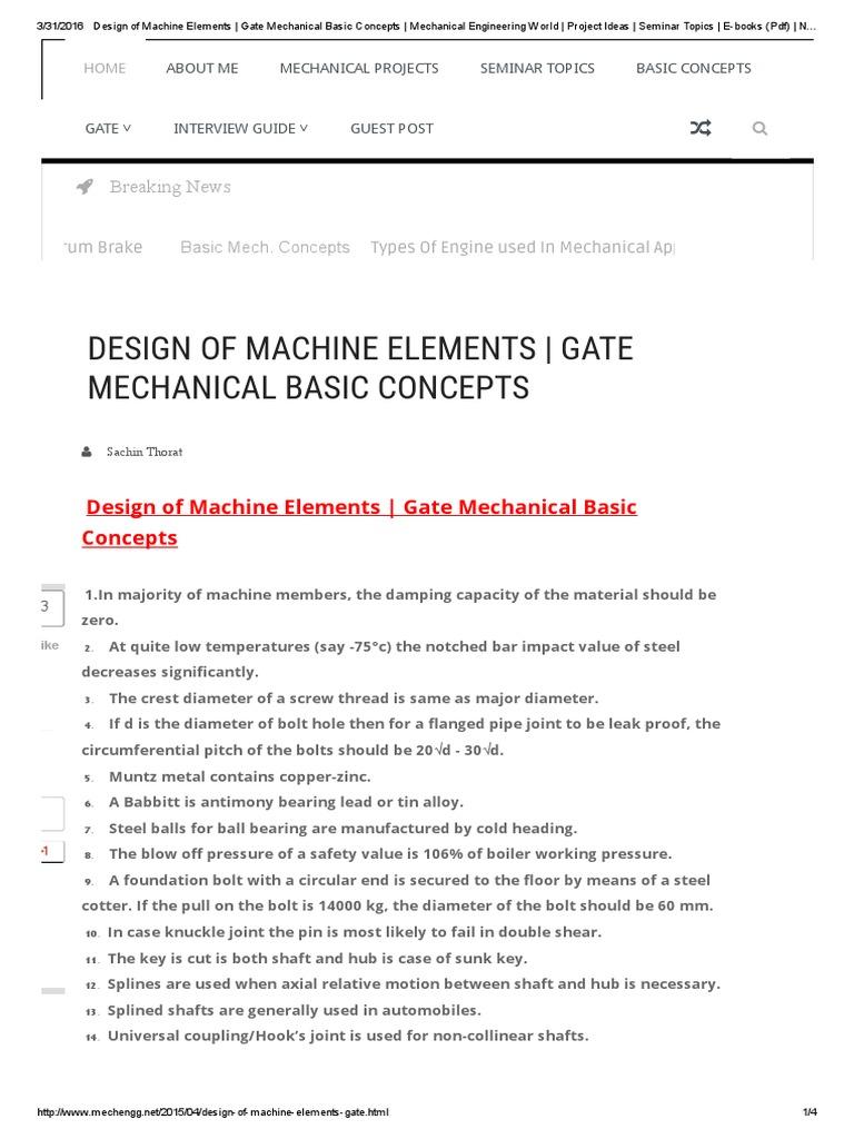 Design Of Machine Elements Bearing Mechanical Screw
