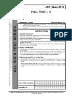 Paper Fiitjee jee main sample paper