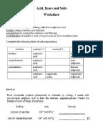 Acid Bases and Salts Worksheet