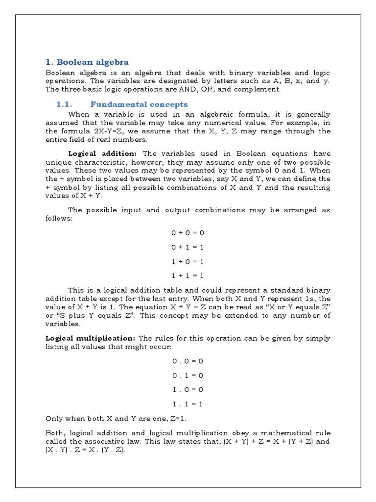 Computer fundamentals boolean algebra axiom buycottarizona