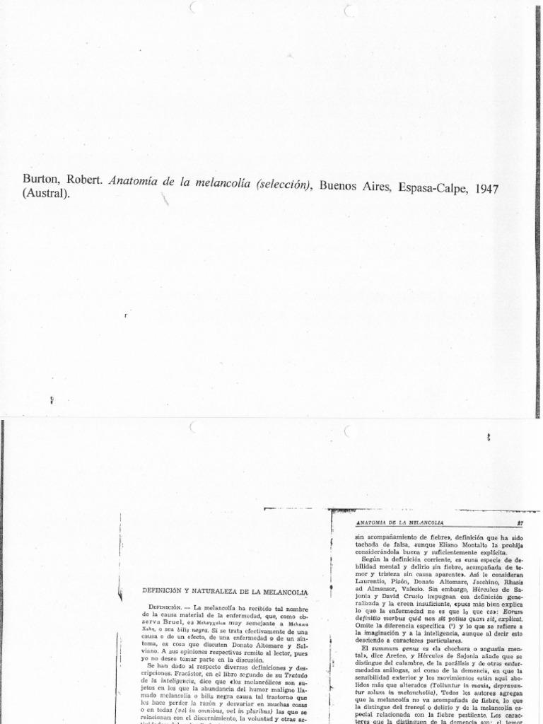 Robert Burton, Anatomía de la melancolía (fragmento)