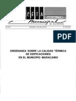 3. Ordenaza Sobre Calidad Termica (Maracaibo)