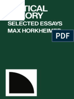Horkheimer Max Critical Theory Selected Essays 2002