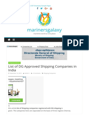 List of Dg Approved Shipping Companie | Sailor | Oceans