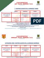 HORARIOS OFICIALES CLUB DEPORTIVO EOH