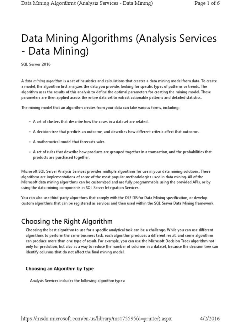 Data Mining Algorithms | Data Mining | Prediction
