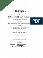 Vishnu Smriti With Extracts From Vaijayanti Tika - Julius Jolly 1881