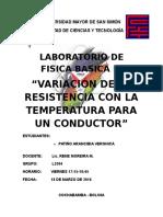 Variacion de Temperatura con la r4esistencia
