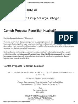 Contoh Proposal Penelitian Kualitatif Majalah Keluarga