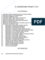 Mechanical Engineering Project List