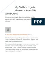 Are Electricity Tariffs in Nigeria Really the Lowest in Africa