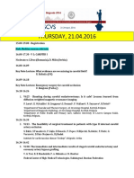ESCVS program Thursday, 21.04.2016