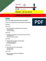 Escvs Program Cardiology session on 22.4.2016