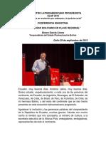 Conferencia Magistral Alvaro Garcia Linera en Elap 2015