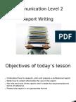 Communication Level 2 Report Writing