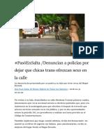 2016-01-31 PasóEnSalta _Denuncian a Policías Por Dejar Que Chicas Trans o