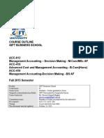 Management Acct Decision Making Course Ouitline (1)