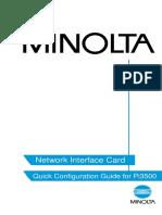 K Minolta Option Pi3500 NIC Quick Configuration Guide