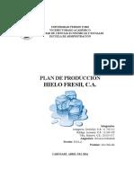 Plan de Producción Empresa Hielo Fresh CA