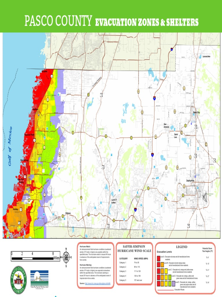 Pasco County Evacuation Zones And Shelters Flood Emergency