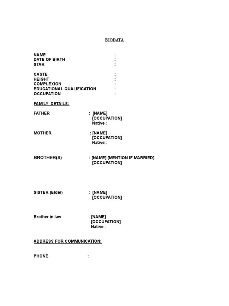 normal biodata format