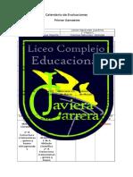 Calendario de Evaluaciones PRIMER SEMESTRE CSepulveda