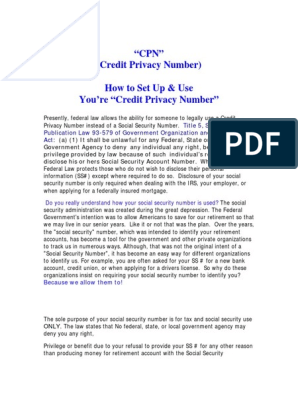 Cpn | Social Security Number | Credit (Finance)