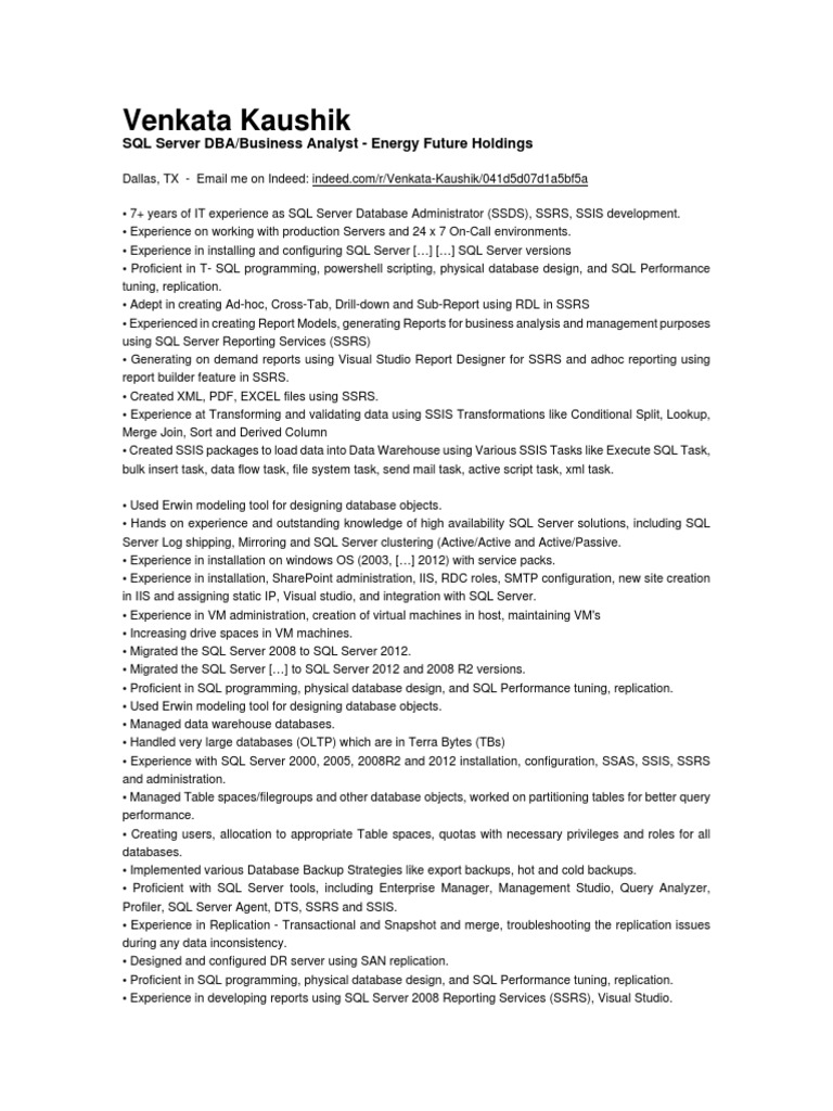 Venkata Kaushik Microsoft Sql Server Backup