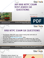 RRB Ntpc Most Asked Gk Questions