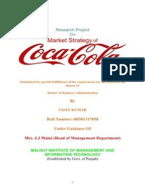Market Strategy of Coca Cola Vijay Monga | Market
