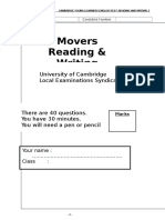 Movers Reading and Writing Test