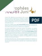 Communiqué Trophées ANDRH  Junior 2016