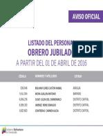 """Personal Obrero Jubilado Abril 2016 - Notilogía"""""""