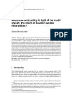 Wren-Lewis (2010) - Macroeconomic Policy in Light of the Credit Crunch- The Return of Counter-cyclical Fiscal Policy?
