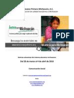 Noticias del Sistema Educativo Michoacano al 4 de abril de 2016