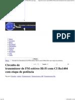 Circuito de Transmissor de FM Estéreo Hi-Fi Com CI Ba1404 Com Etapa de Potência _ Toni Eletronica One