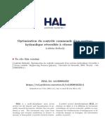 Optimisation Du Controle Commande d'Un Systeme Hydrolique à Vitesse Variable