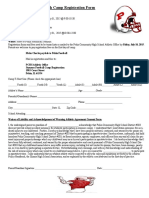 2015 Youth Camp Football Registration Form