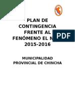 Plan de Contingencia de La Provincia de Chincha Frente Al Fenómeno El Niño 2015