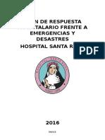 Plan de Respuesta Hospitalario Para Emergencias y Desastres Final