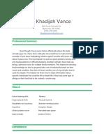 khadijah vance resume