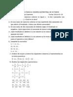 Cuestionario Para El Examen Quimestral de Octavos