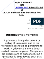 PROJECT REPORT on Grievances Handling