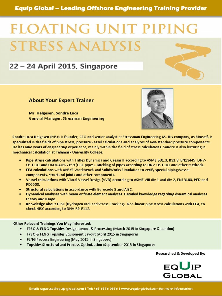 Floating Unit Piping Stress Analysis Payments Stressstrain Layout Calculation