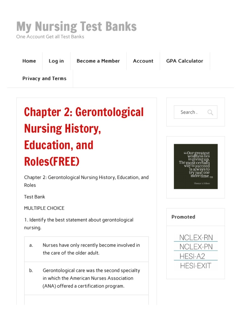 Gerontological nursing nclex questions quizlet