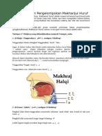Pengertian Dan Pengelompokan Makharijul Huruf