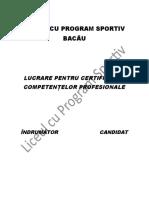 Atestat Educatie Fizica Si Sport