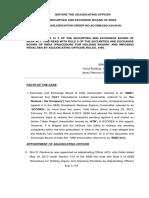 Adjudication Order in the matter of SB&T International Ltd